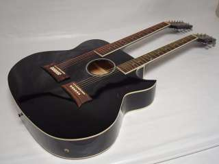 String Acoustic Electric Double Neck Guitar, Cutaway, Black, /w Case