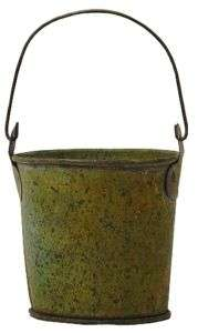 Weathered Tin Mini Pail Bucket Verdigris Green NEW Lot