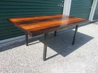 GORGEOUS MILO BAUGHMAN MULTI WOOD STRIPED DINING TABLE MID CENTURY
