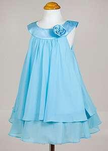 Turquoise Chiffon Birthday, wedding, flower girl dress