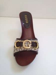 New GUESS Black Brown White BRIGETTE w/Crystals Slip On Sandals Shoes