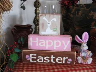 Primitive Shelf Blocks HAPPY EASTER Bunny Eggs Adorable~ !