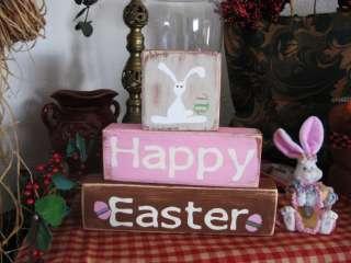 Primitive Shelf Blocks HAPPY EASTER Bunny Eggs Adorable~ LOOK