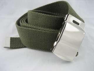 GREEN Canvas Web Belt Strap Buckle Military Men Ladies Women M