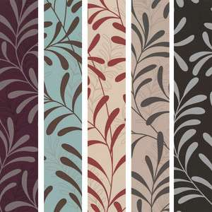 MOMENT FEATURE DESIGNER WALLPAPER LEAF PURPLE SILVER BLUE BLACK RED