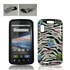 Motorola ATRIX 4G MB860 BLACK ZEBRA SKIN PEACE AND SKULLS