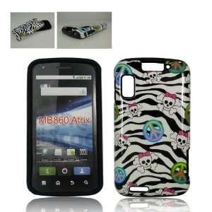 Motorola ATRIX 4G MB860 BLACK ZEBRA SKIN PEACE AND SKULLS