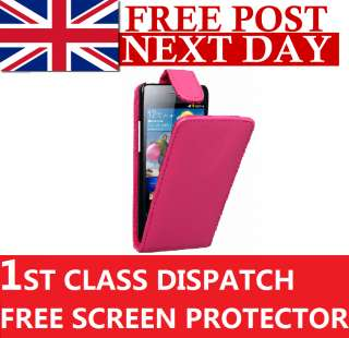 GREAT VALUE NEW PINK LEATHER CASE FOR GALAXY S II I9100 + 3 X