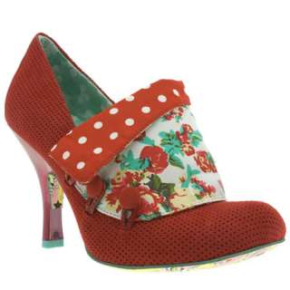 IRREGULAR CHOICE WOMENS RED FABRIC HEELS SHOES