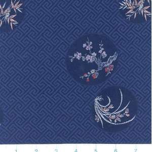45 Wide Oriental Brocade Fabric Chrysanthemum Midnight