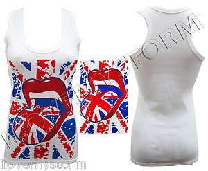 WOMENS ENGLAND FLAG PRINT SEXY LIPS DESIGNER MUSCLE VEST TOP SIZE 8 14