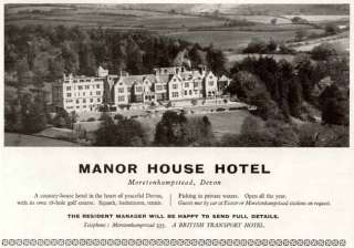 1959 AD FOR THE MANOR HOUSE HOTEL ~ MORETONHAMPSTEAD UK
