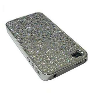 CLEAR DIAMOND BLING CHROME CRYSTAL CASE COVER FOR IPHONE 4G 4S
