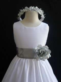 New WHITE SILVER winter wedding flower girl dress