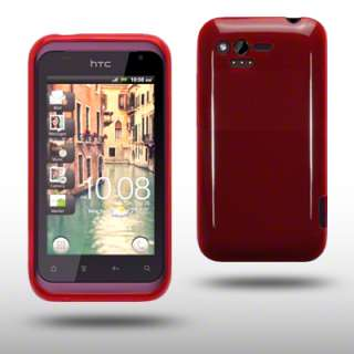 FROSTED TPU GEL CASE / COVER FOR HTC RHYME   RED
