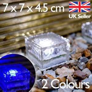 Garden Path Light, Small Glass Ice Brick Blue or White LED Premium