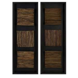 IMAX Natural Pressed Bamboo And Reed Wall Decor With Black