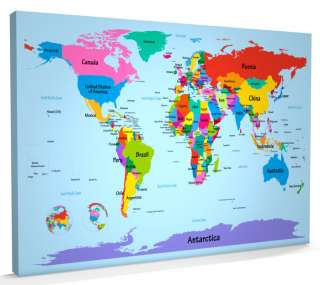 Map of the World Map Big Text for Kids, Box CANVAS A1 (22x34 inch