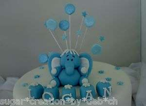 sugar elephant baby boys christening / birthday cake topper set