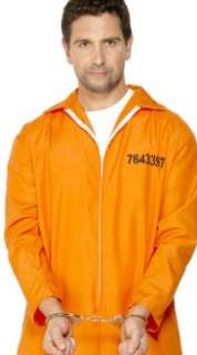 Orange Boiler Suit Prisoner Convict Fancy Dress Costume