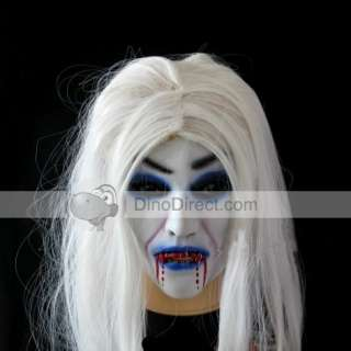 Scary Demon Monster Latex Full Head Mask with Hair   DinoDirect
