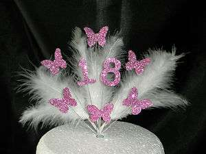 Beautiful Butterfly Cake Topper 18th Birthday   White/Pink   Any Age