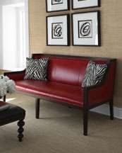 Barclay Butera Lifestyle Madline Red Leather Sofa & Zebra Print
