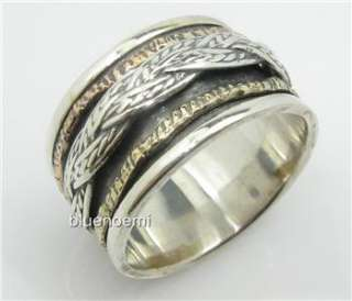 Mens jewellery wide band spinner ring silver gold bague