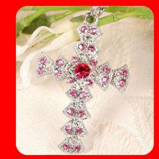 Cross pendant necklace Swarovski Pink Crystal G41