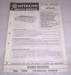 ORIGINAL HITACHI HTA 2 STEREO RECEIVER SERVICE MANUAL