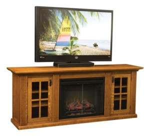 Amish Plasma LCD TV Stand Media Cabinet Electric Fireplace Solid Wood
