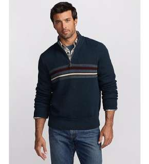 Eddie Bauer Men Sweaters Classic Fit Cotton Marl Striped Quarter Zip