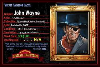 Black Velvet Painting of John Wayne hand painted in Tijuana, Mexico