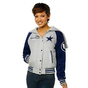 Dallas Cowboys for Her Cotton Fleece Varsity Jacket with Split Hood by