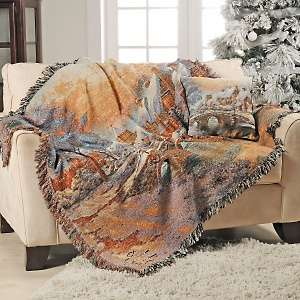 Thomas Kinkade Cobblestone Christmas Throw and Pillow Set