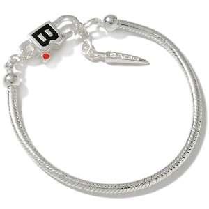 Enamel Logo Sterling Silver Snake Chain Charm Bracelet