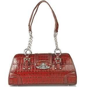 Marc Chantal Croco Embossed Leather Satchel