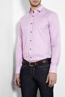 Paul Smith London  Pink Stripe Chevron Cuff Fitted Shirt by Paul