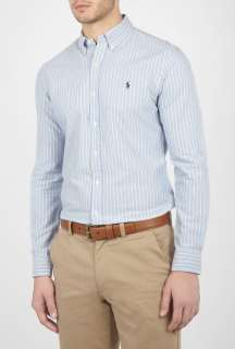 Polo Ralph Lauren  Blue Stripe Washed Oxford Slim Fit Shirt by Polo