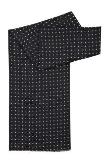Pretty Green  Black Silk Wool Polkadot Dress Scarf by Pretty Green