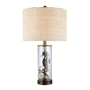 26 Largo Seahorse Bronze and Clear Glass Table Lamp