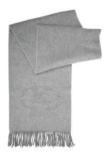 Light Grey Embroidered Crest Cashmere Scarf by Burberry Brit   Grey