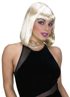 Blonde Tinsel Bob Wig   A shimmering and sexy blonde adult womans