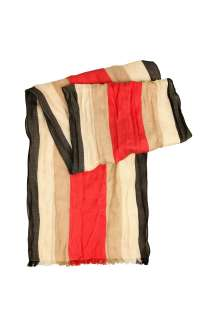 Beige Icon Striped Washed Cotton Scarf by Burberry Brit   Neutral