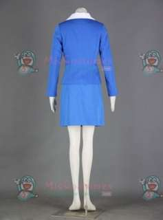 Blue and White Airline Stewardess Uniform Cosplay Costume