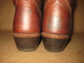 ACME DINGO Vintage Brown Oiled Leather Simple Tall Cowboy Boots Women