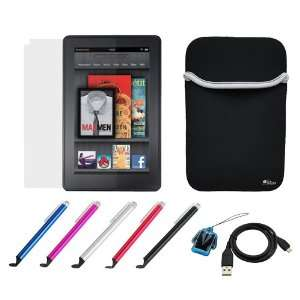 GTMax Neoprene Sleeve Case + LCD Screen Protector + Stylus with Flat