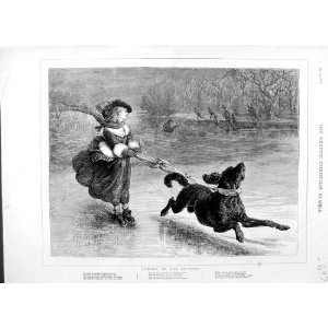 1875 ICE SKATING WINTER SPORT GIRL DOG TREES MEN PRINT
