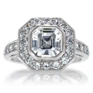 Bezel Set Asscher Inspired with CZ Border Ring Emitations Jewelry