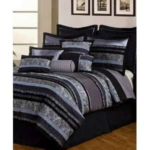 Black 12 Piece Queen Comforter Bed In A Bag Set Black/Gray Home